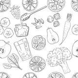 Sistema inconsútil del modelo de frutas y verduras dibujadas mano fresca Fotografía de archivo libre de regalías