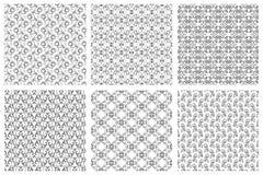 Sistema inconsútil del modelo del vintage floral oriental del vector del damasco Modelos caligráficos de rizos en el fondo blanco stock de ilustración