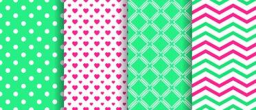 Sistema inconsútil del modelo del vector Textura repetida primavera Colección geométrica de los fondos Verde, rosa Papeles pintad ilustración del vector