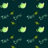 Sistema inconsútil del tiempo del té del modelo de Watercololor Imagen de archivo libre de regalías