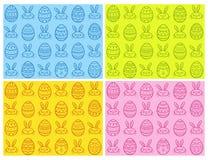 Sistema inconsútil dibujado mano del modelo de los huevos de Pascua Ilustración del vector Fotografía de archivo libre de regalías