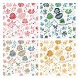 Sistema incons?til floral del modelo Papel pintado botánico de la textura del vintage de la flor de la primavera del verano de la ilustración del vector