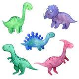 Sistema infantil de la acuarela con los dinosaurios stock de ilustración