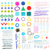 sistema infantil de las formas divertidas del garabato del Mano-dibujo Fotos de archivo libres de regalías