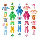 Sistema infantil del desgaste de la ropa del niño del vestido de la tela del diseño determinado de los iconos de la materia texti stock de ilustración