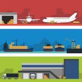 Sistema infographic de la bandera de la logística Vector plano Imagen de archivo libre de regalías