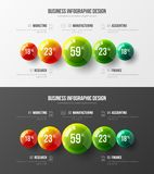 Sistema infographic de la disposición de diseño del arco iris 3D de la presentación corporativa asombrosa de las bolas stock de ilustración