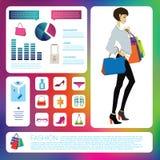 Sistema infographic de la moda ilustración del vector