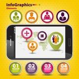 Sistema infographic en trabajo en equipo en negocio Imagen de archivo libre de regalías