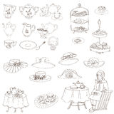Sistema inglés de la fiesta del té Foto de archivo