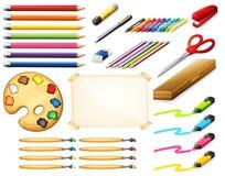 Sistema inmóvil con los colorpencils y los objetos del arte ilustración del vector