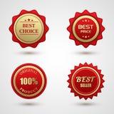 Sistema insignia bien escogida roja del oro de la mejor Foto de archivo