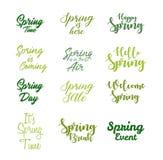 Sistema inspirado del icono de las citas de la primavera ilustración del vector