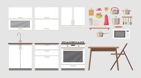 Sistema interior del clip art del constructor de la cocina acogedora con muebles y electrónica, tabla y silla, platos y utencils stock de ilustración
