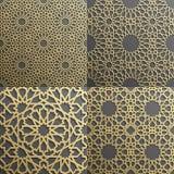 Sistema islámico del modelo de 4 ornamentos Ornamento geométrico, del este árabe inconsútil, indio, adorno persa, 3D endless stock de ilustración
