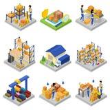 Sistema isométrico 3D de la gestión de Warehouse stock de ilustración