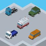 Sistema isométrico de acorazado, camión, Lorry And Other Vector Objects del coche También incluye la ayuda, Suv, elementos del mo Foto de archivo libre de regalías