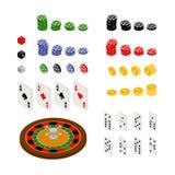 Sistema isométrico de artículos del juego y del casino Fotografía de archivo libre de regalías