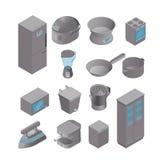 Sistema isométrico de dispositivos de cocina Stock de ilustración