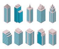 Sistema isométrico de edificios altos europeos en un fondo blanco stock de ilustración
