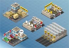 Sistema isométrico de edificios de almacenamiento ilustración del vector