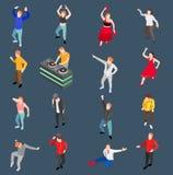 Sistema isométrico de la gente del baile stock de ilustración