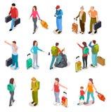 Sistema isométrico de la gente del viaje Hombres, mujeres y niños con equipaje Familia, pasajeros y equipaje turísticos Vector de stock de ilustración