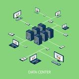 Sistema isométrico de los datos con vector de los elementos del centro de datos y de red stock de ilustración