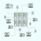 Sistema isométrico de los datos con vector de los elementos del centro de datos y de red Fotos de archivo