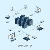 Sistema isométrico de los datos con vector de los elementos del centro de datos y de red ilustración del vector