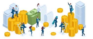 Sistema isométrico de los hombres de negocios, inversores, banqueros, crecimiento de la renta, monedas, efectivo, inversión inmob stock de ilustración