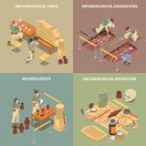 Sistema isométrico de los iconos del concepto de la arqueología ilustración del vector