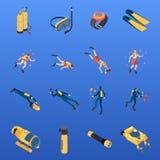 Sistema isométrico de los iconos que se zambulle ilustración del vector