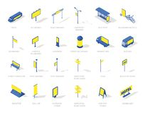sistema isométrico de los medios de los iconos de la publicidad al aire libre del Hacia fuera-de-hogar Color azul y amarillo stock de ilustración