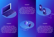 Sistema isométrico de los títulos conceptuales para los dispositivos Laptop Auricular Altavoces Ejemplo isométrico stock de ilustración