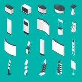 Sistema isométrico de soportes o de los standands promocionales de la exposición, folleto en el ejemplo azul del vector del fondo Imagen de archivo libre de regalías