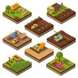 Sistema isométrico del campo de las máquinas agrícolas stock de ilustración