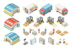 Sistema isométrico del icono del almacén, esquema, concepto logístico ilustración del vector