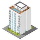 Sistema isométrico del icono de la casa de vivienda stock de ilustración