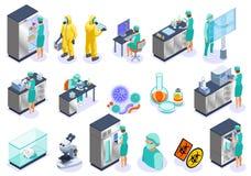 Sistema isométrico del icono de la microbiología libre illustration
