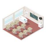 Sistema isométrico del icono de la sala de clase Imágenes de archivo libres de regalías