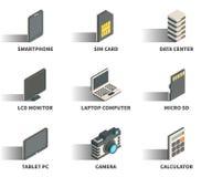 Sistema isométrico del icono del web 3D Imagen de archivo