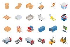 Sistema isométrico del objeto del almacén y de la logística Imagen de archivo libre de regalías