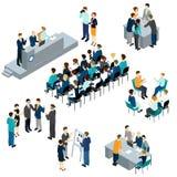 Sistema isométrico del trabajo en equipo de la gente stock de ilustración
