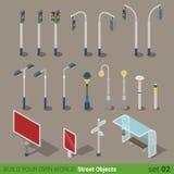 Sistema isométrico plano del icono de los objetos de la calle 3d Fotografía de archivo