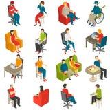 Sistema isométrico del icono de la gente que se sienta Foto de archivo libre de regalías