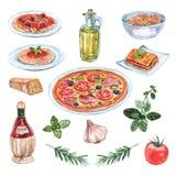 Sistema italiano de la acuarela de la comida Foto de archivo libre de regalías