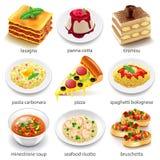 Sistema italiano del vector de los iconos de la comida Fotografía de archivo libre de regalías