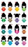 Sistema japonés de la muchacha de la muñeca Fotos de archivo libres de regalías