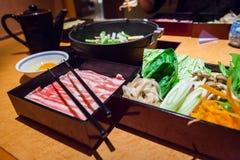 Sistema japonés del shabu del shabu foto de archivo libre de regalías